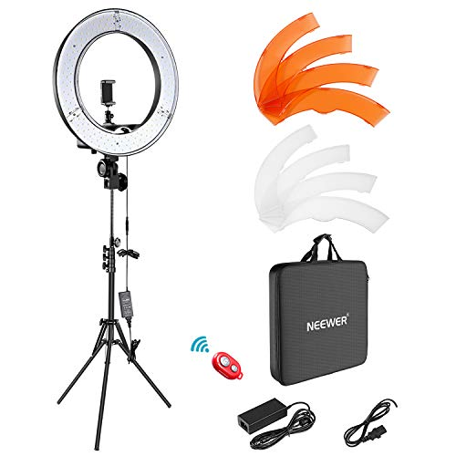 Neewer Ringleuchte Licht Set: 18 Zoll / 48 Zentimeter Außen 55W 5500K dimmbare LED-Ringlicht Lampenstativ Bluetooth-Empfänger für YouTube TikTok Self-Porträt der Videoaufnahme