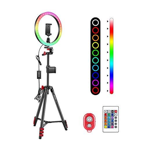 Neewer 10-Zoll-RGB-Ringlicht mit Stativ und 2 Handyhalterungen, dimmbares Selfie-Ringlicht mit Fernbedienung, 16 Farben, 4 Blitzmodi und Selfie-Fernbedienung für Make-up/Live-Streaming/YouTube/TikTok