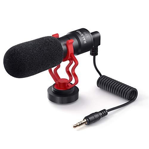 RaLeno Handy Mikrofon mit Halterung, kompakt am Kameramikrofon, Kompatibel mit Smartphone, Sony, Canon und Nikon Kameras