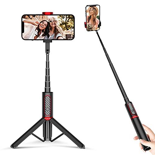 ATUMTEK Bluetooth Selfie Stick, Mini Selfie-Stick 3 in 1 Erweiterbar Handy Stative aus Aluminium mit Kabelloser Fernbedienung um 360° Drehbar für iPhone, Samsung, Huawei, Sony und Andere Smartphones
