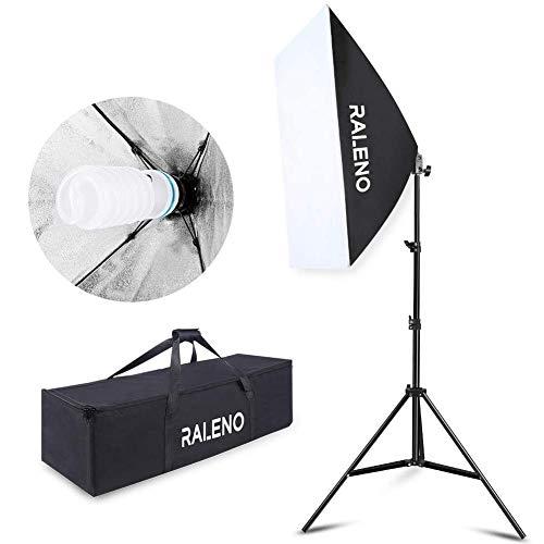 Softbox, RALENO Videobeleuchtung, 50x70 cm Fotobeleuchtung Studio Kit mit kontinuierlicher CFL 5500K E27 Glühbirne für Portraits, Objekte, Modefotos und Werbevideos