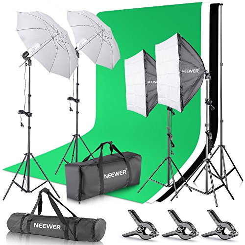 Neewer 2, 6M x 3M Hintergrund Stützsystem sowie 800W 5500K Regenschirme Softbox Dauerlicht Set für Fotostudio Produkt Porträt sowie Video Fotografie