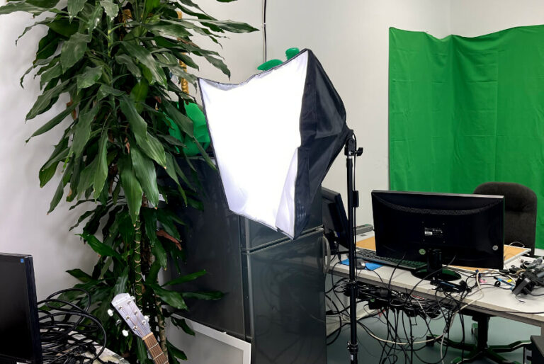 softbox in streaming studio