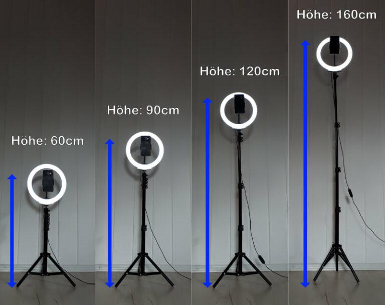 Ringlicht mit Standstativ in verschiedenen Höhen